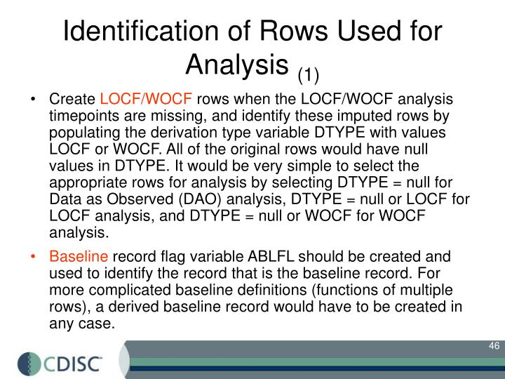 Identification of Rows Used for Analysis