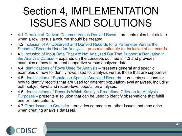 Section 4, IMPLEMENTATION ISSUES AND SOLUTIONS