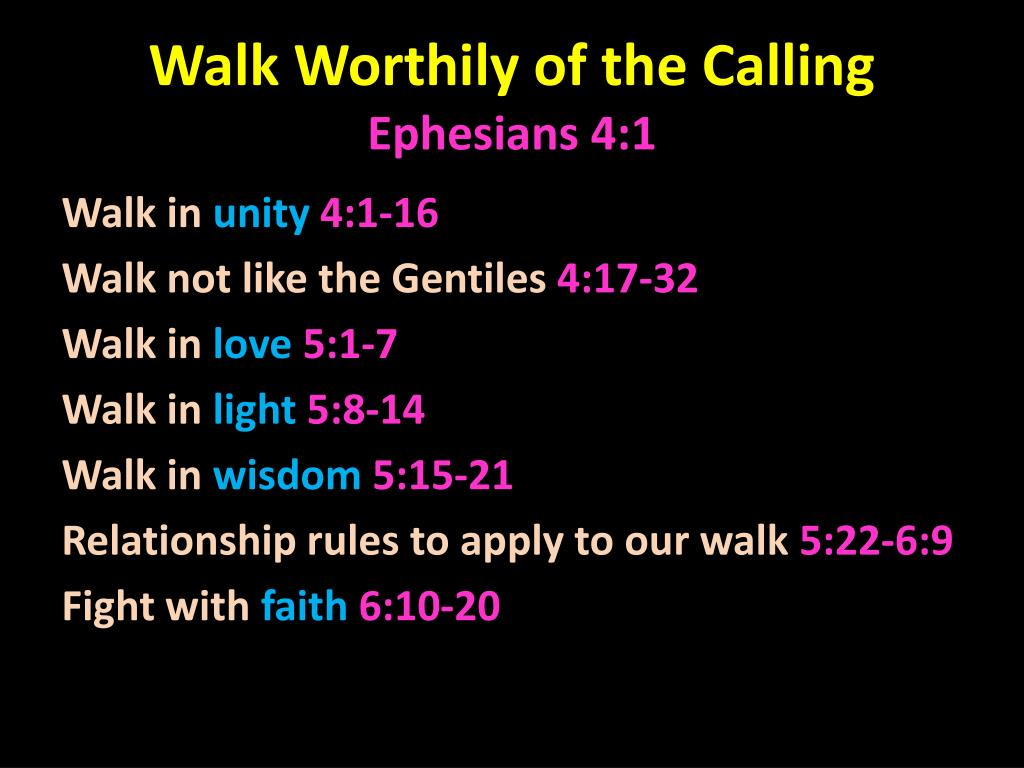Walk Worthily of the Calling
