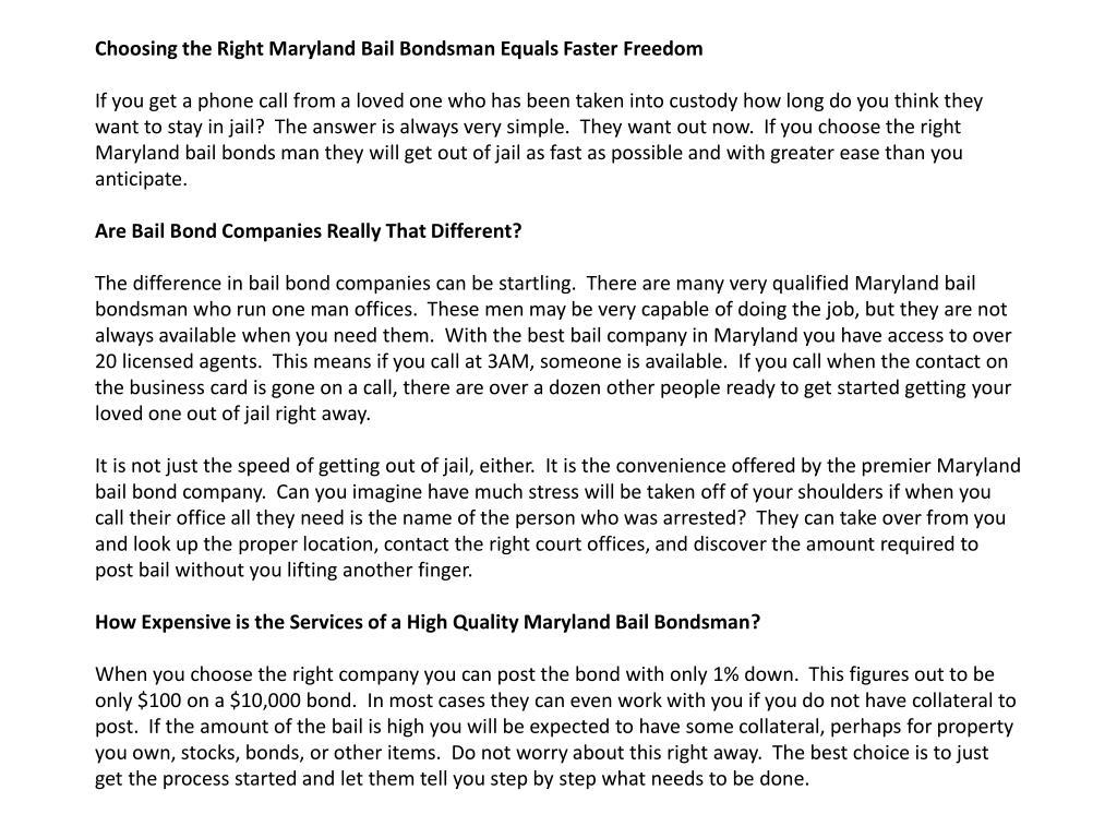 Choosing the Right Maryland Bail Bondsman Equals Faster