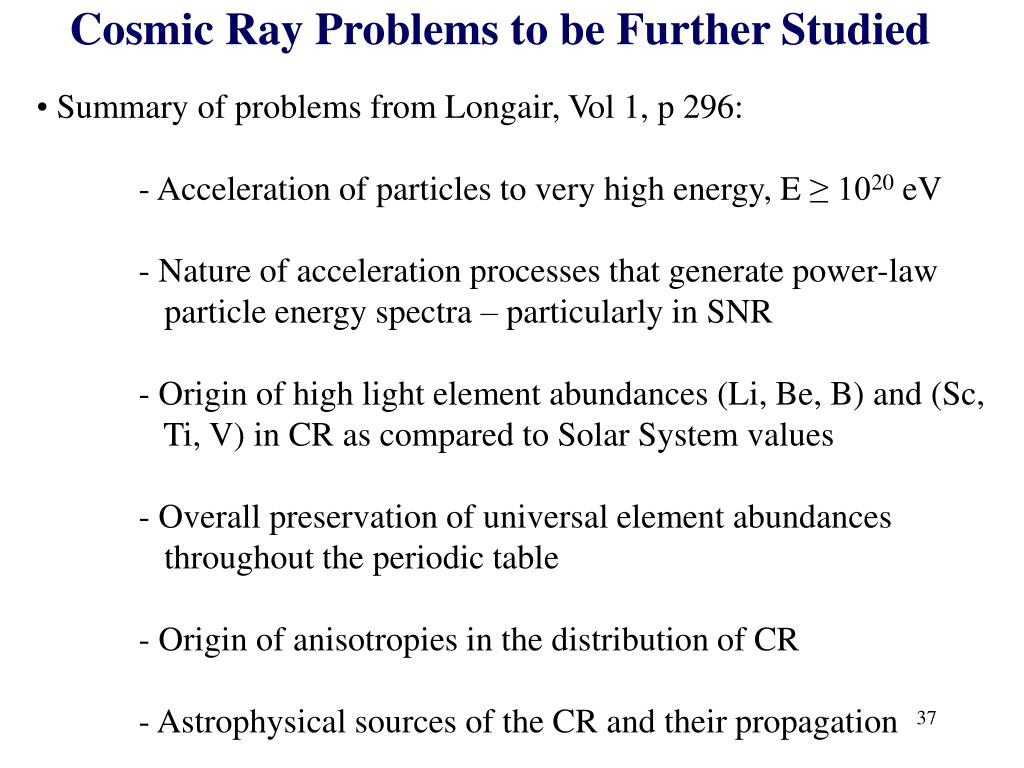 Cosmic Ray Problems to be Further Studied
