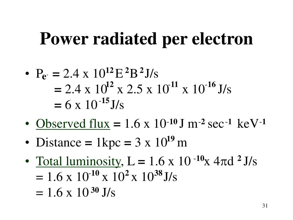 Power radiated per electron