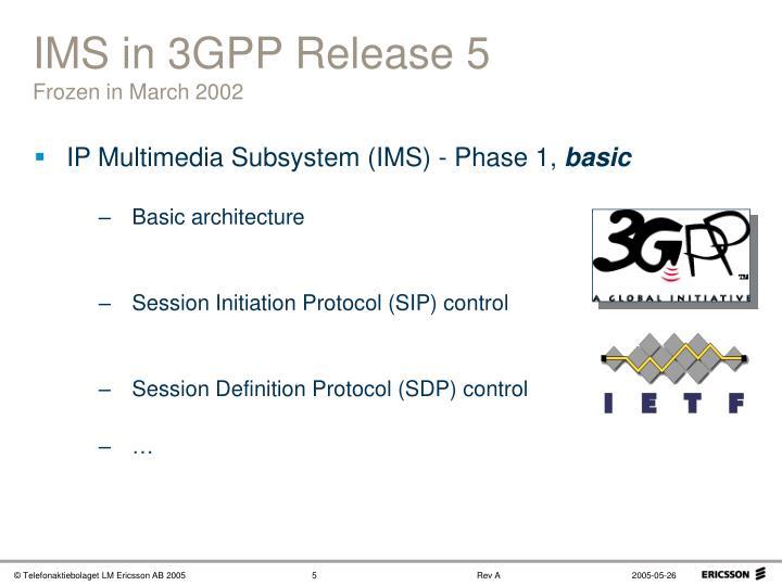 IMS in 3GPP Release 5