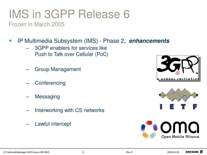 IMS in 3GPP Release 6