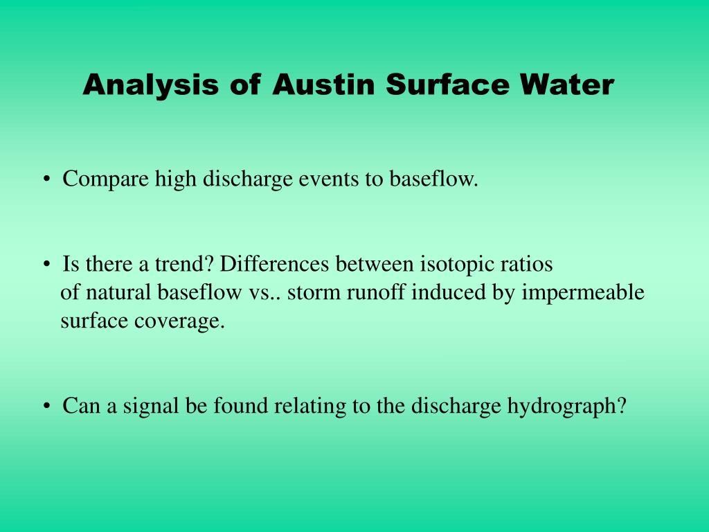 Analysis of Austin Surface Water