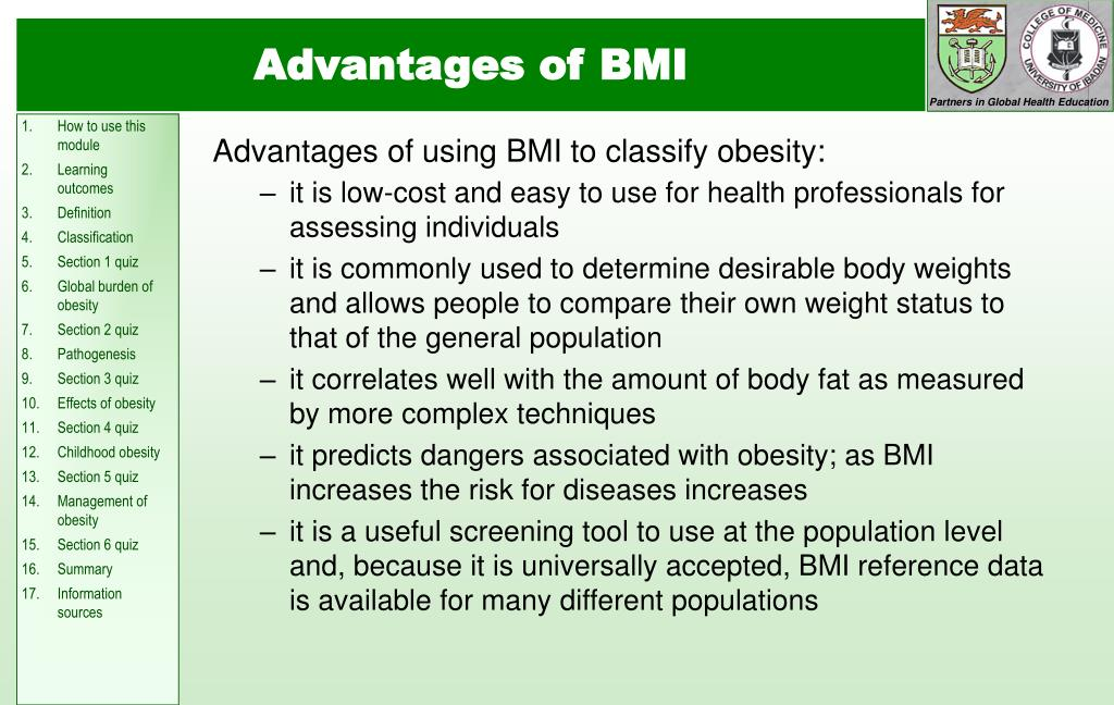 Advantages of using BMI to classify obesity:
