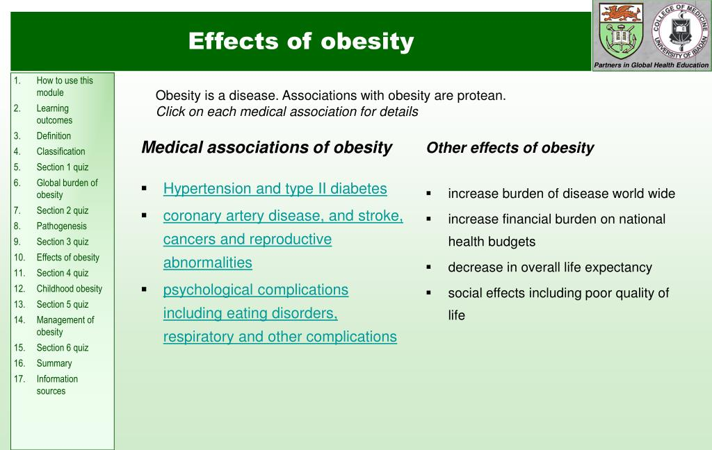 Medical associations of obesity