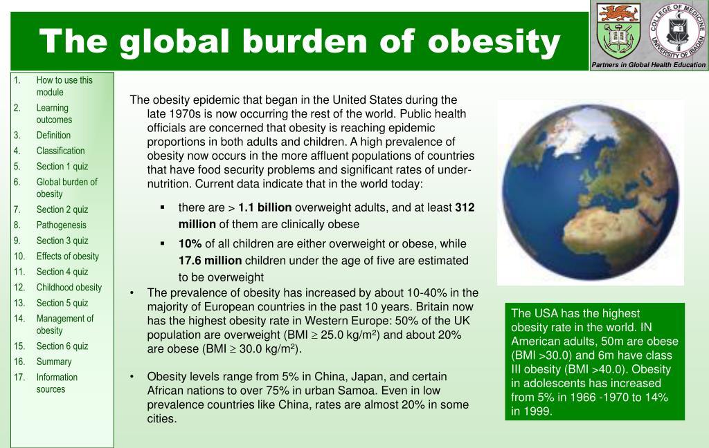 The global burden of obesity