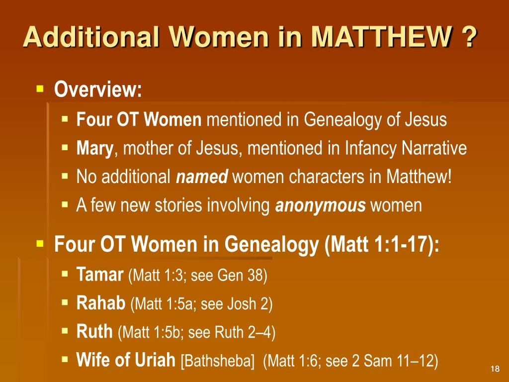 Additional Women in MATTHEW ?