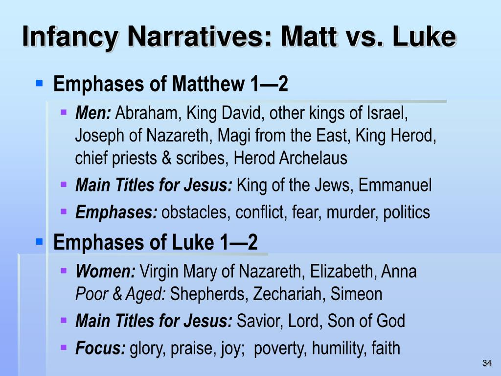 Infancy Narratives: Matt vs. Luke