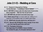 john 2 1 12 wedding at cana