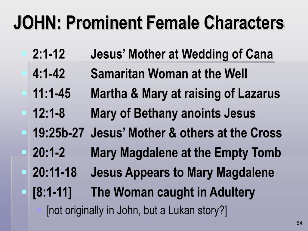 JOHN: Prominent Female Characters