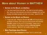more about women in matthew