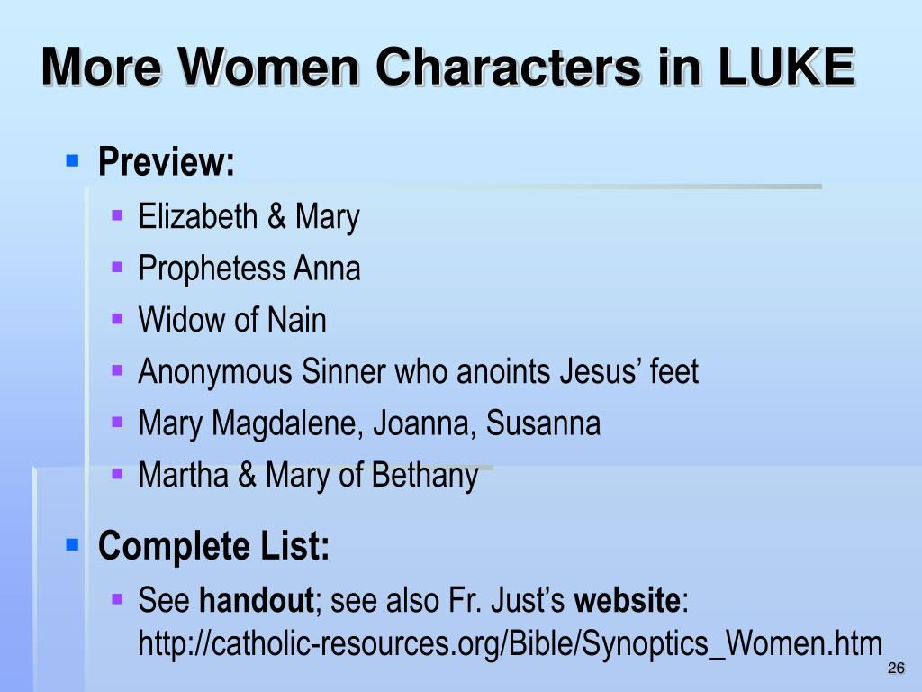 More Women Characters in LUKE