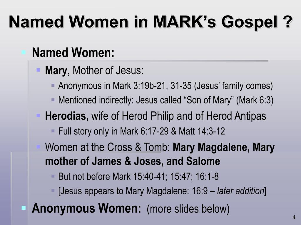 Named Women in MARK's Gospel ?