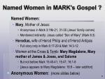 named women in mark s gospel
