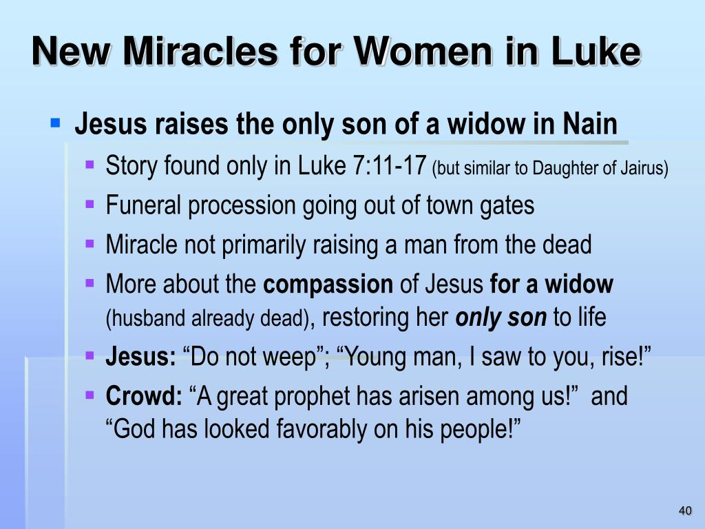 New Miracles for Women in Luke