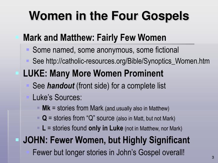 Women in the four gospels l.jpg