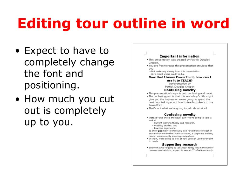 Editing tour outline in word