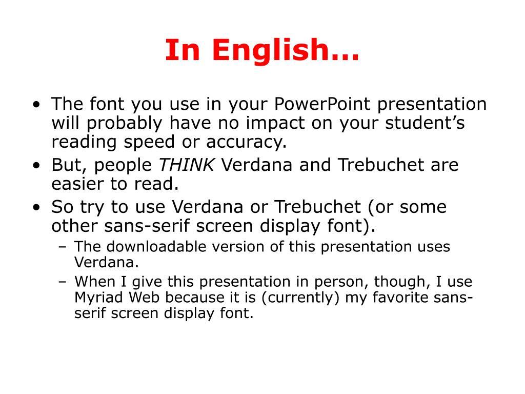 In English…