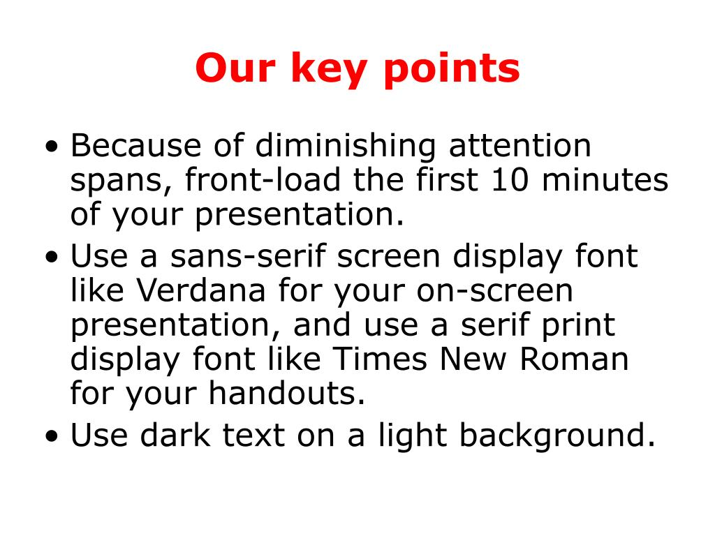 Our key points