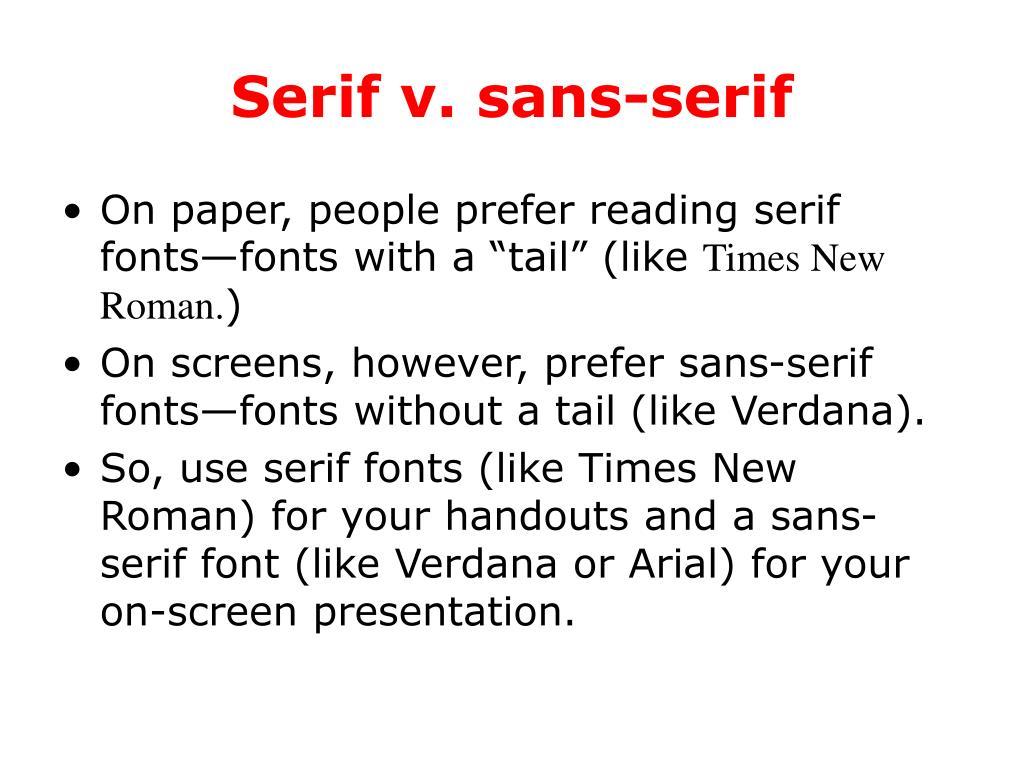 Serif v. sans-serif