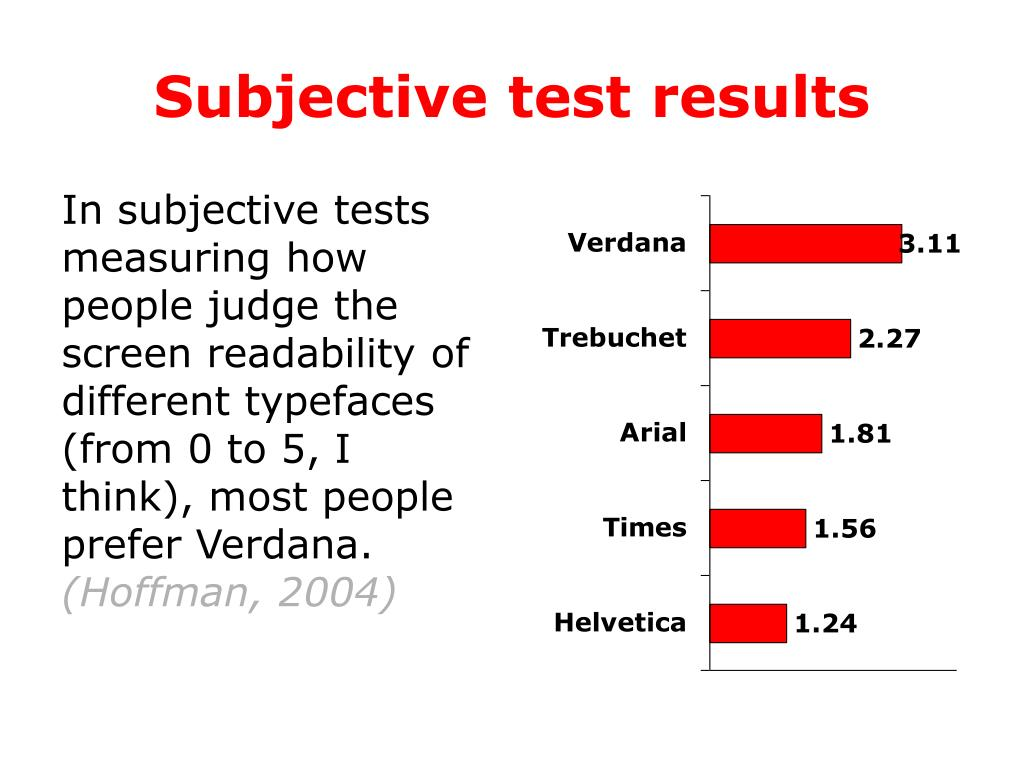 Subjective test results