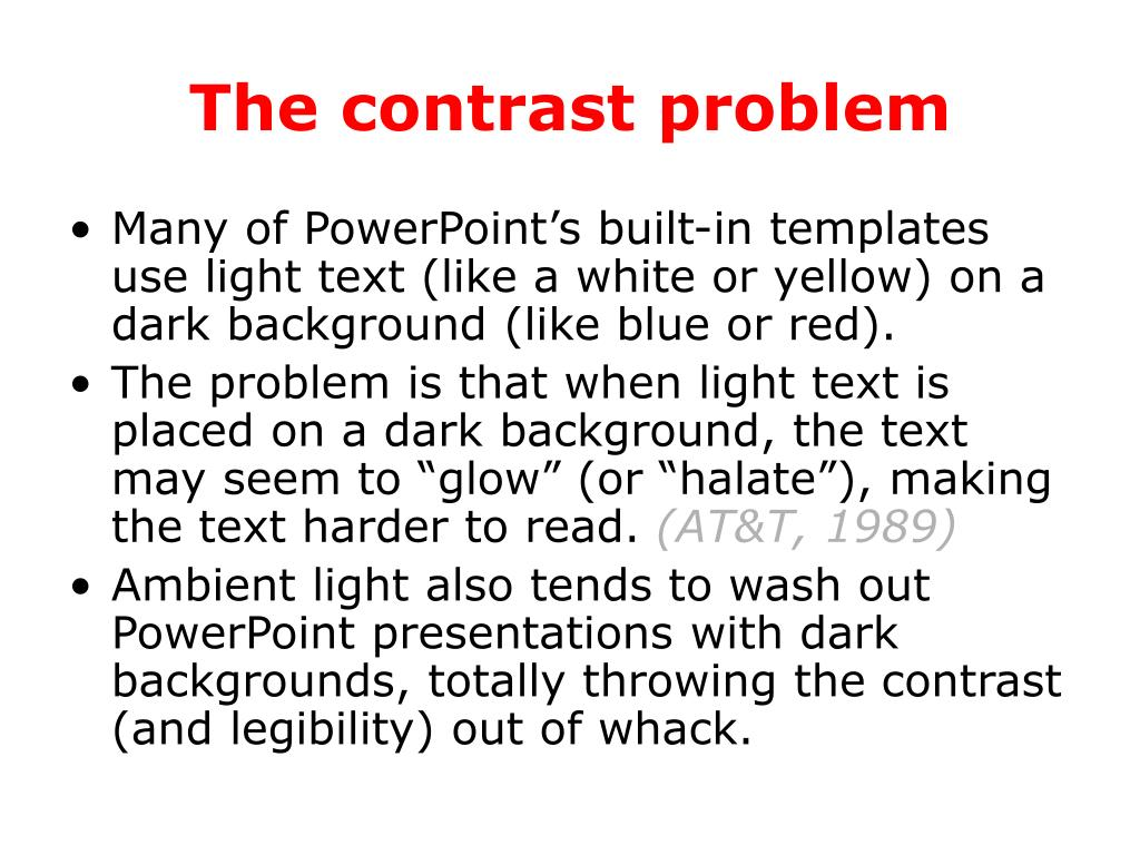 The contrast problem