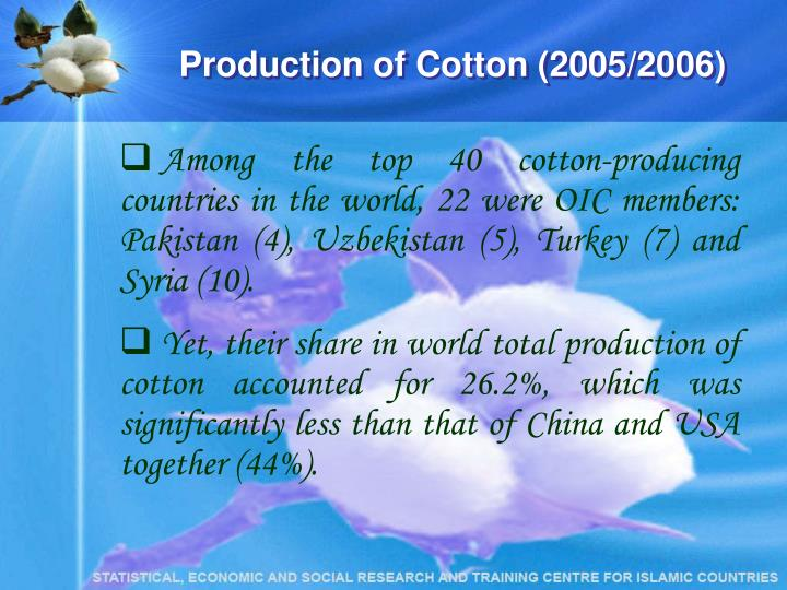 Production of Cotton (2005/2006)