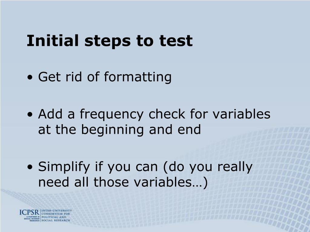 Initial steps to test