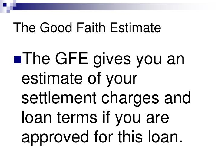 Ppt Understanding The Good Faith Estimate Hud 1 And