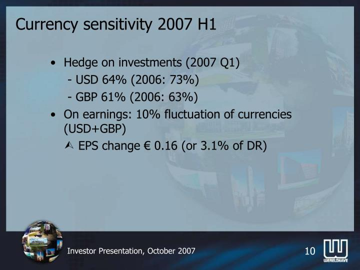 Currency sensitivity 2007 H1