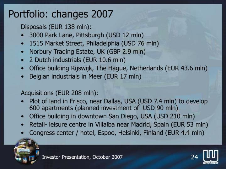 Portfolio: changes 2007