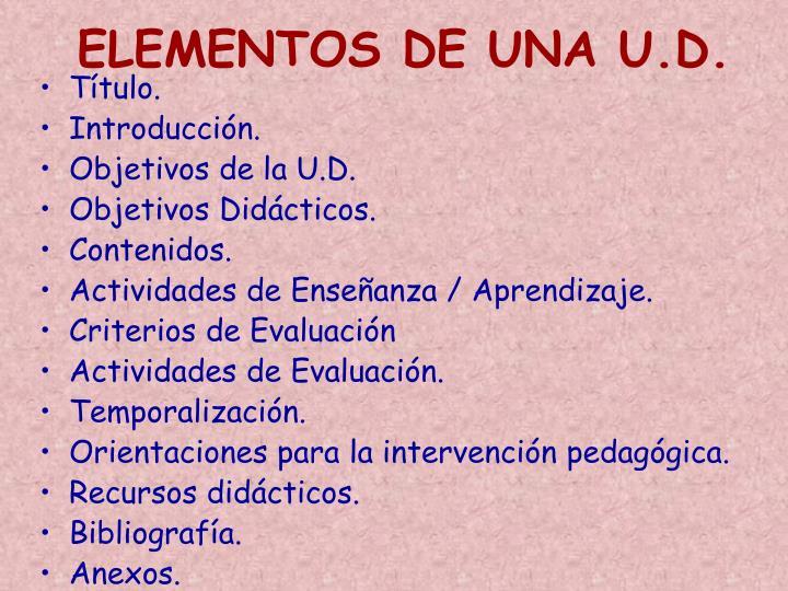 ELEMENTOS DE UNA U.D.