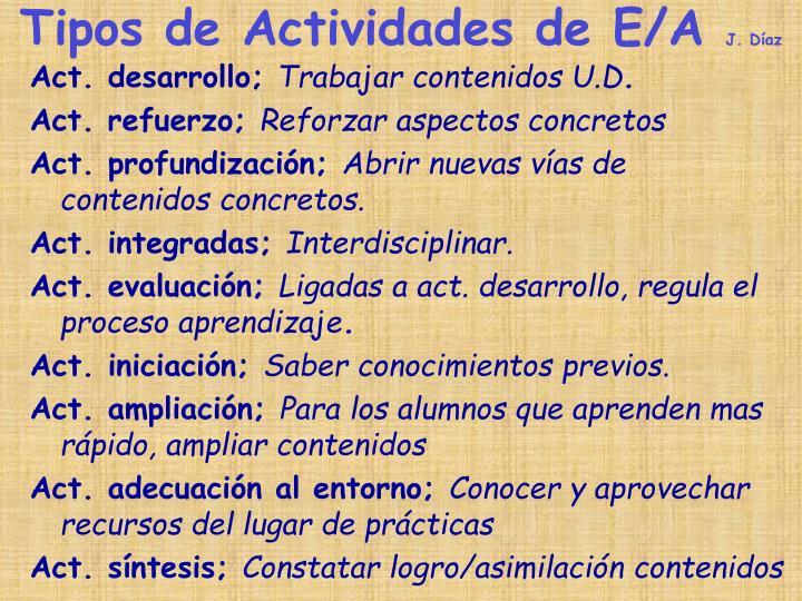 Tipos de Actividades de E/A