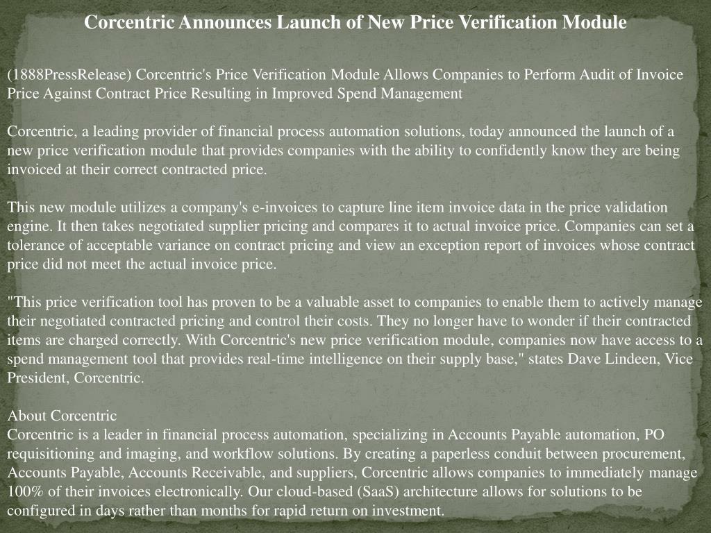Corcentric Announces Launch of New Price Verification Module
