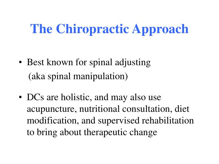 The Chiropractic Approach