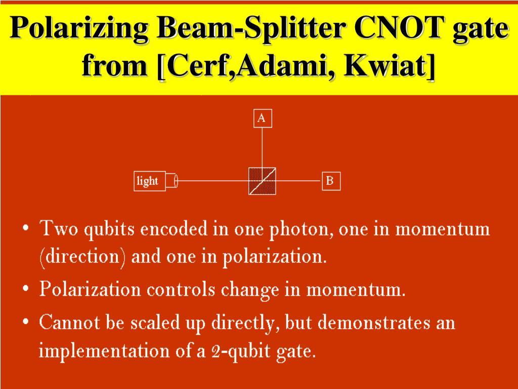 Polarizing Beam-Splitter CNOT gate from [Cerf,Adami, Kwiat]