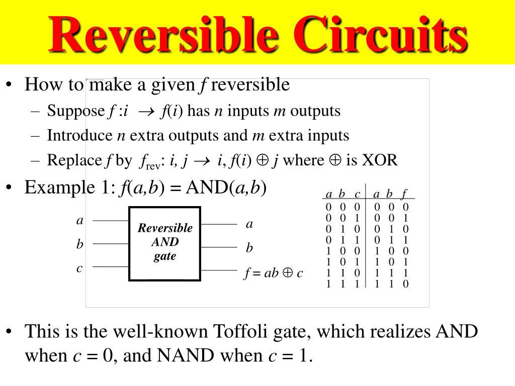 Reversible Circuits