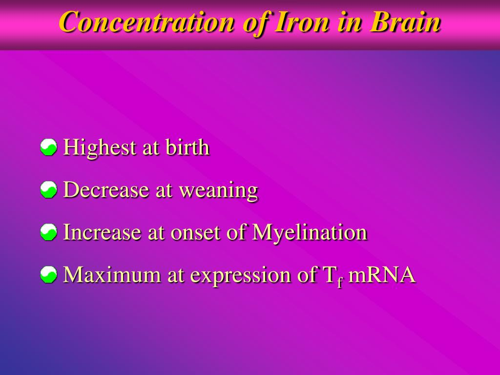 Concentration of Iron in Brain
