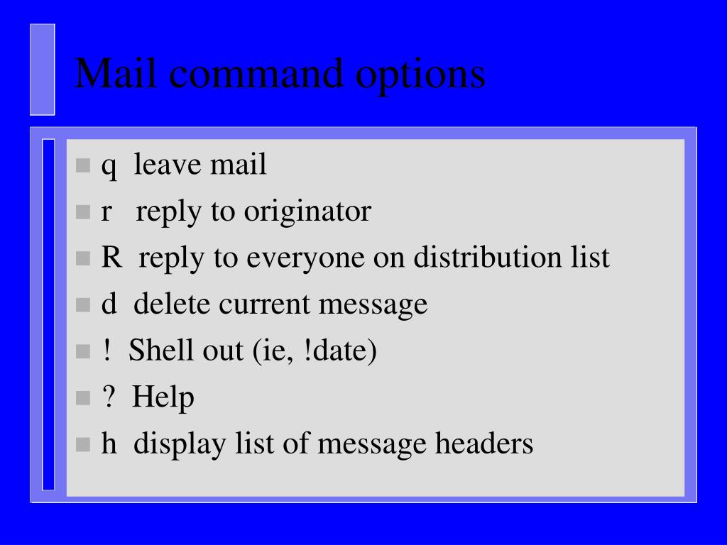 Mail command options