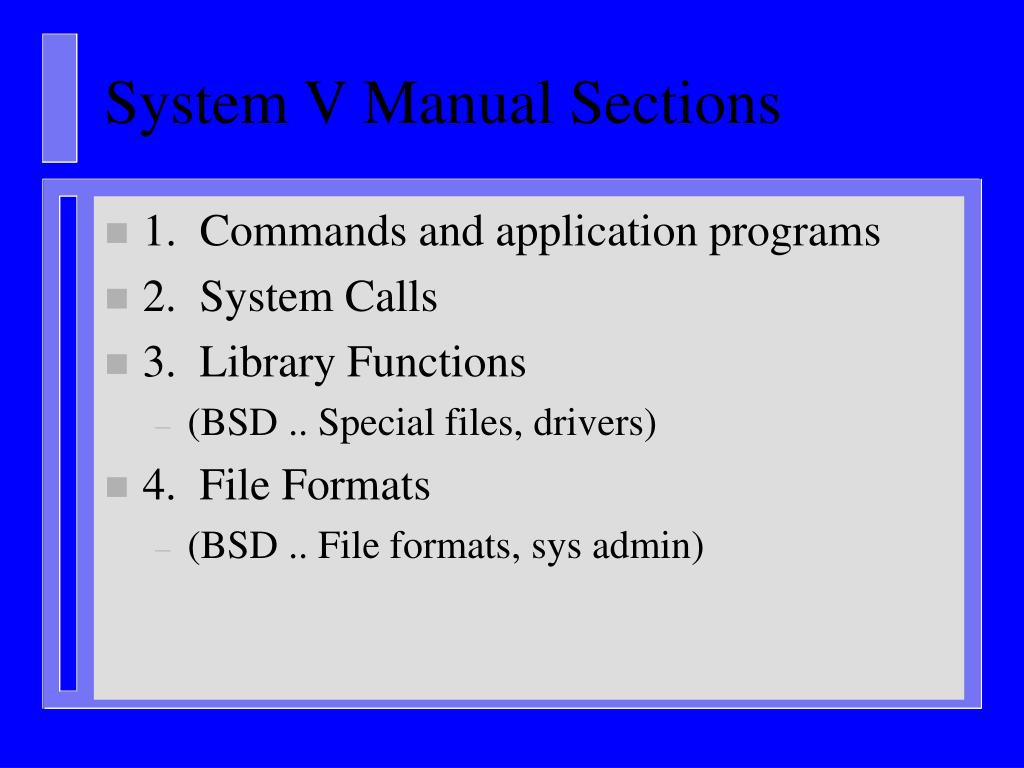 System V Manual Sections
