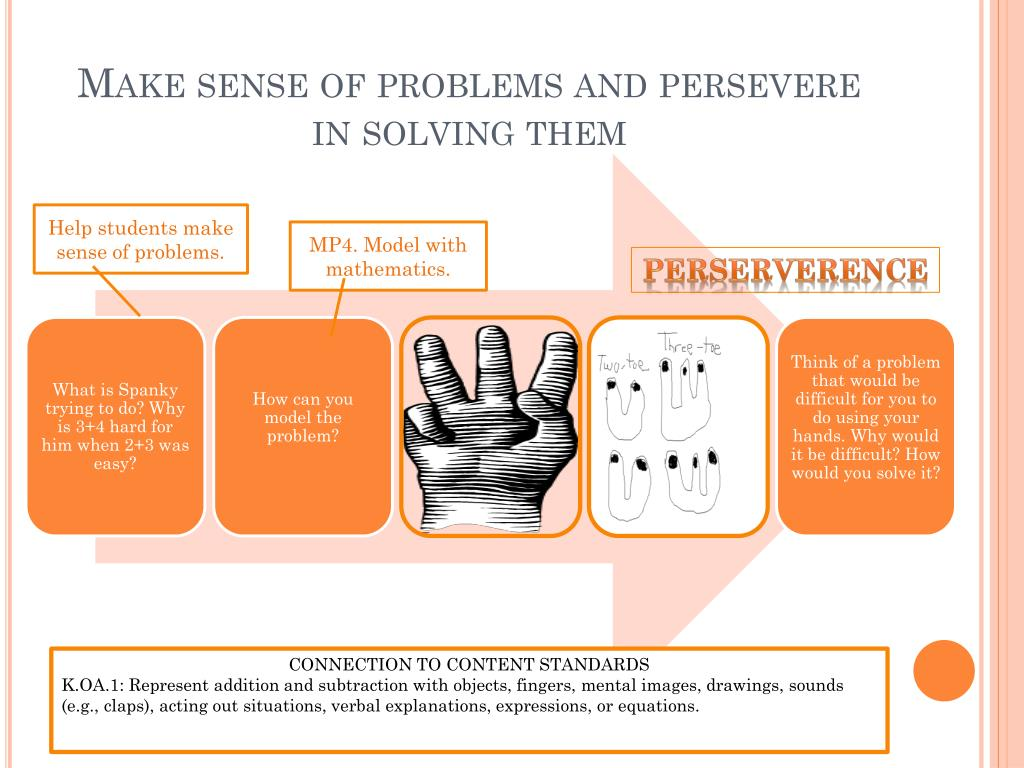 Make sense of problems and persevere in solving them