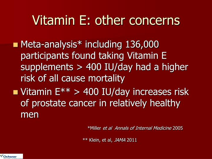 Vitamin E: other concerns