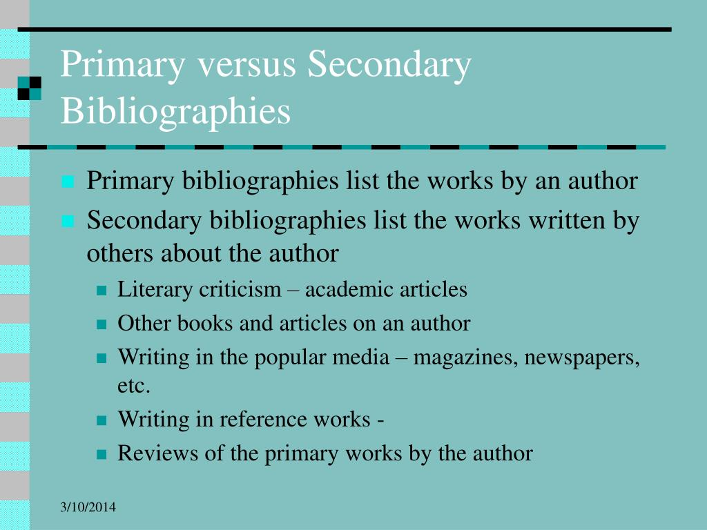 Primary versus Secondary Bibliographies