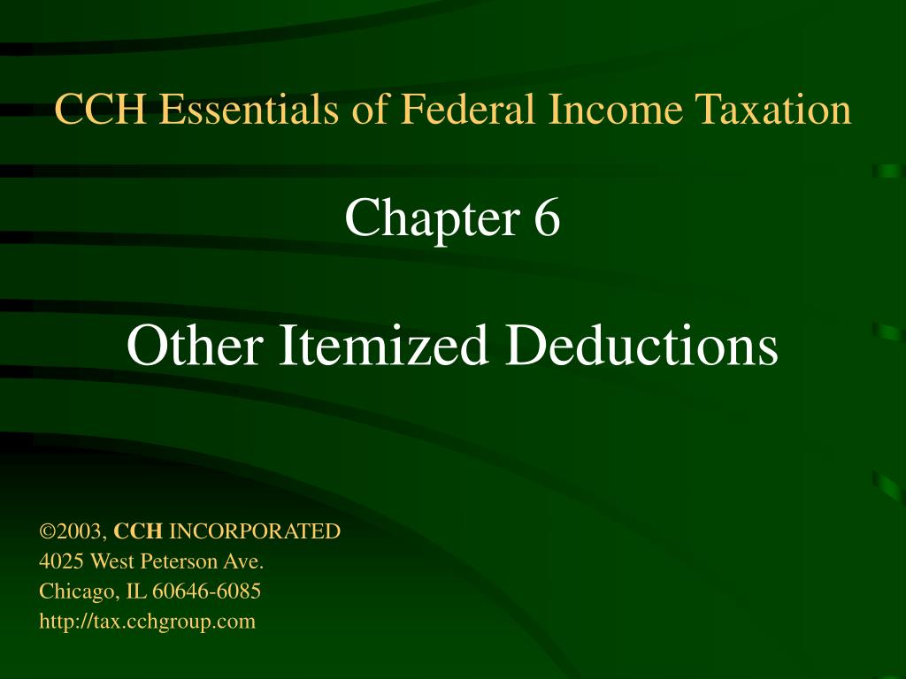 CCH Essentials of Federal Income Taxation