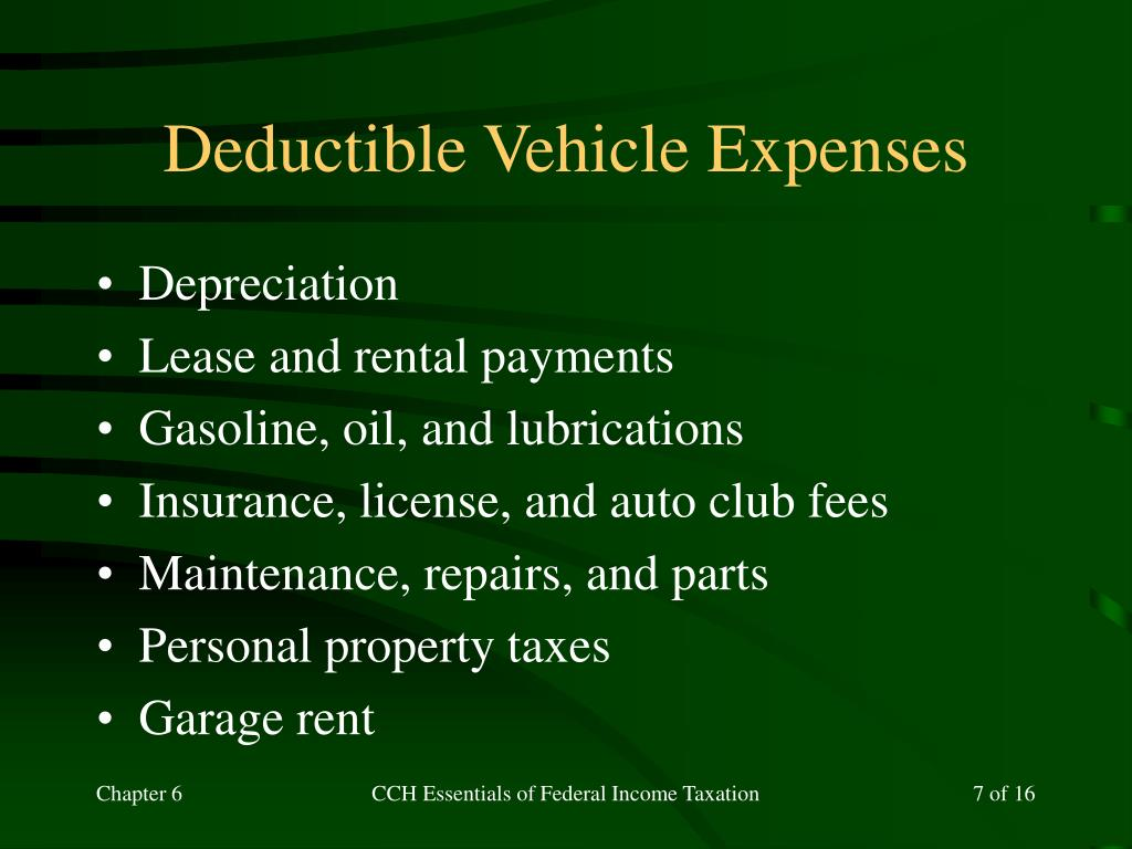 Deductible Vehicle Expenses