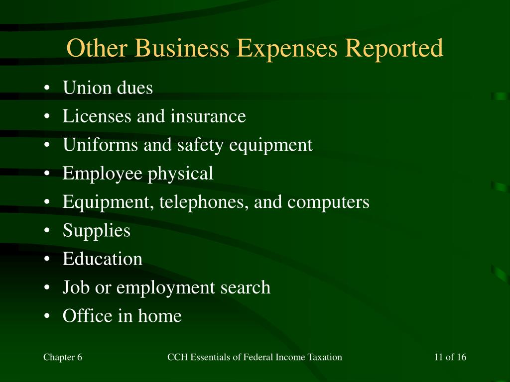 Other Business Expenses Reported