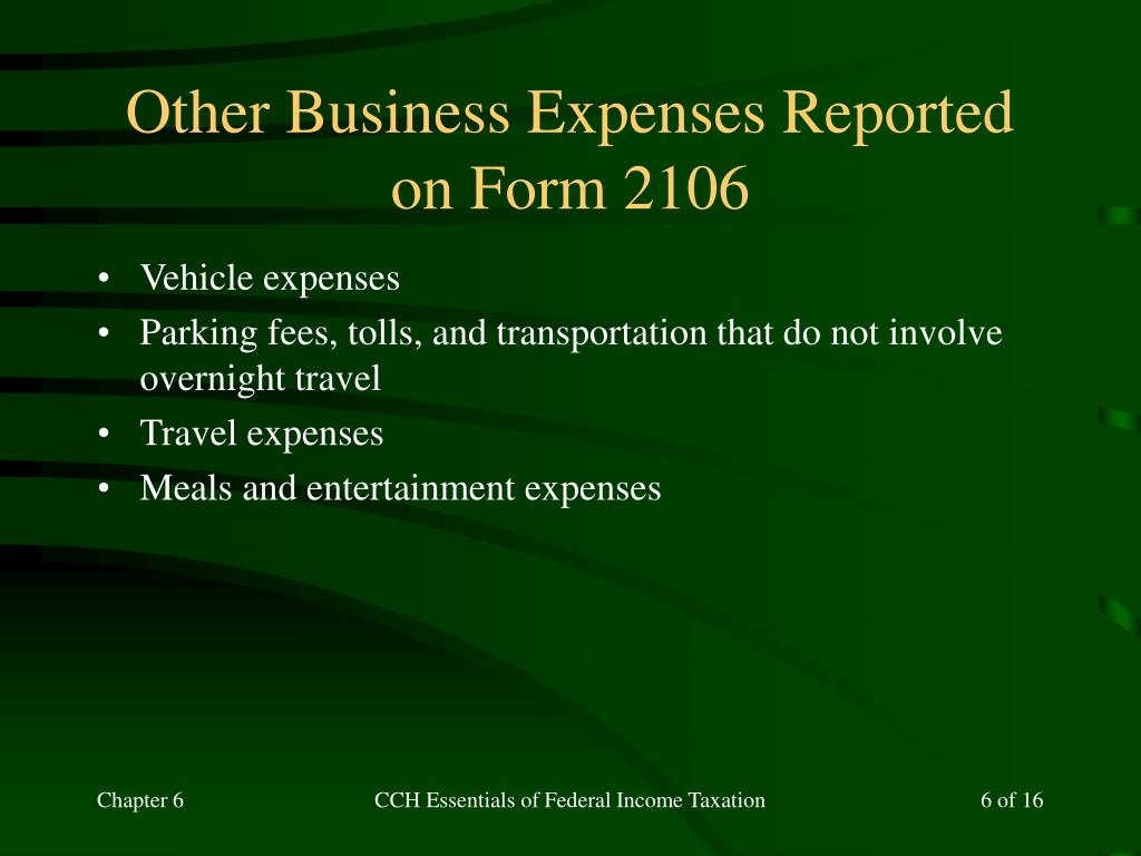 Other Business Expenses Reported on Form 2106