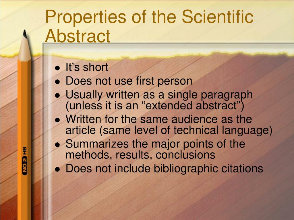 Properties of the Scientific Abstract
